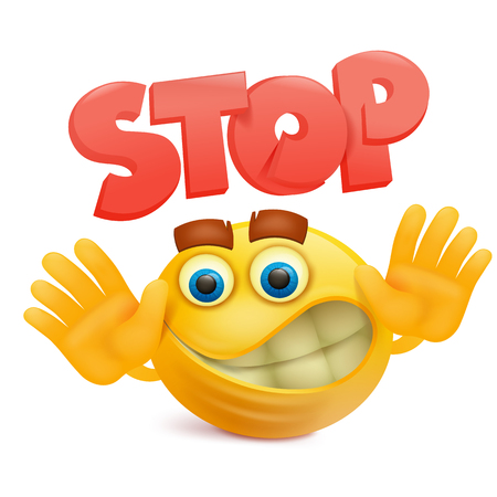 Yellow smile face emoji cartoon character with stop gesture Vector illustration.