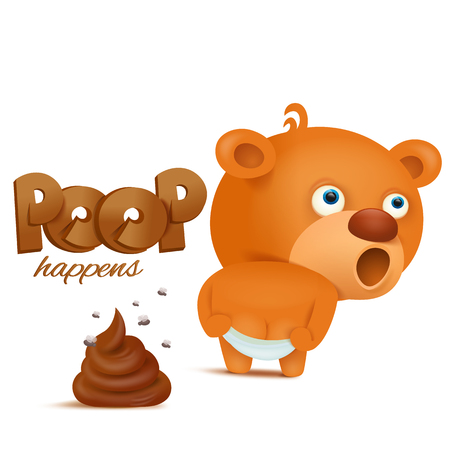 Teddy bear emoji character with bunch of poop. Vector illustration Çizim