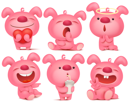 Pink bunny emoji character set with different emotions and situations. Vector illustration