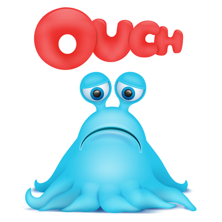 invader: Octopus alien monster emoji character with ouch title. Vector illustration