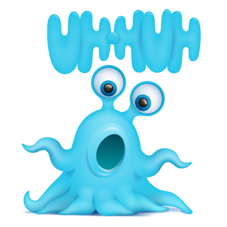 Octopus alien monster emoji character with uh-huh title. Vector illustration