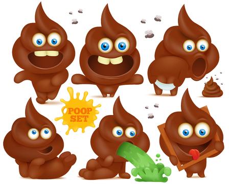 feces: Set of brown emoji poop cartoon characters Illustration