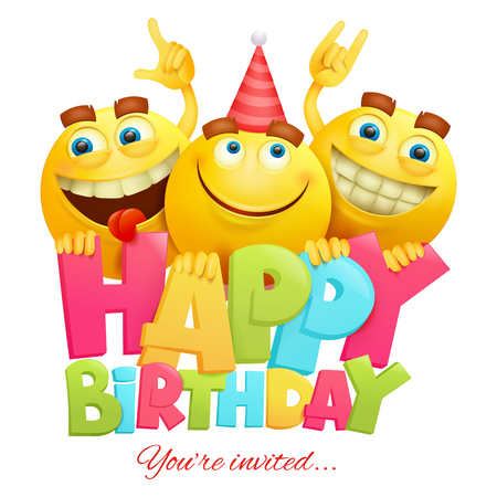 Happy birthday invitation card template with three emoji characters Иллюстрация