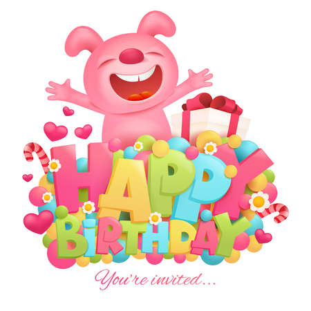title emotions: Happy birthday invitation card template with toy pink bunny emoji cartoon character.