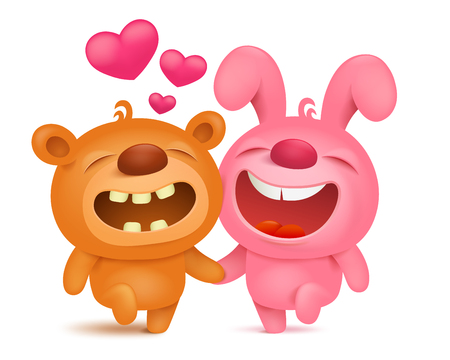 runing: Teddy bear and bunny emoji cartoon characters runing together. Vector illustration