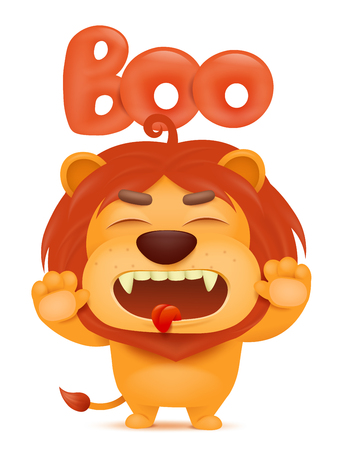 lion tail: Lion cartoon emoji character saying boo. Vector illustration Illustration