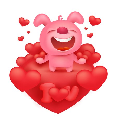 Pink bunny emoticon cartoon character with red hearts. Vector illustration Stock Vector - 78341171