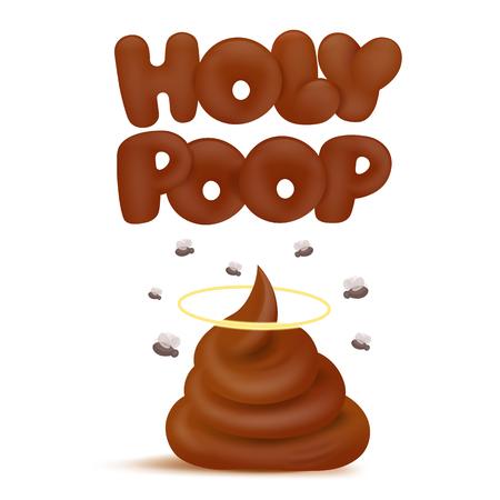 Holy poop concept emoji icon. Vector illustration