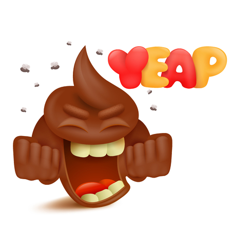 feces: Brown poop emoji cartoon character with yeap title vector illustration.