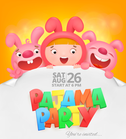 pajama party invitation card with cartoon emoji characters. Vector illustration