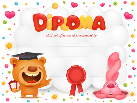 star award: Diploma template certificate with teddy bear and pink bunny cartoon characters. Vector illustration. Illustration