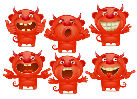 Red devil cartoon characters in different emotions emoji set Иллюстрация