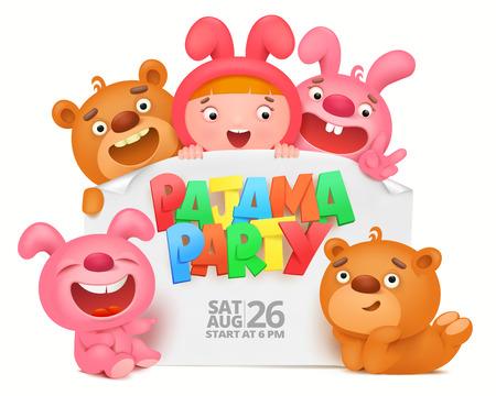 pijamada: Tarjeta de la invitación del partido del pijama con los caracteres divertidos de la historieta Vectores
