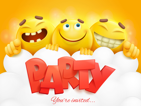 Party invitation card template with three emoji characters. Vector illustration