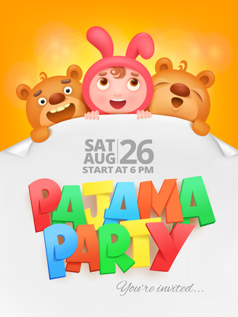 Pajama party invitation card with cartoon funny characters. Vector illustration Illustration