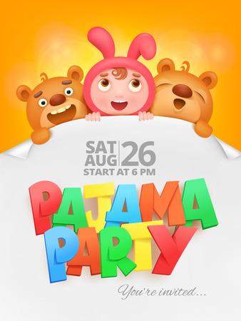pijamada: Tarjeta de la invitación del partido del pijama con los caracteres divertidos de la historieta. Ilustración del vector