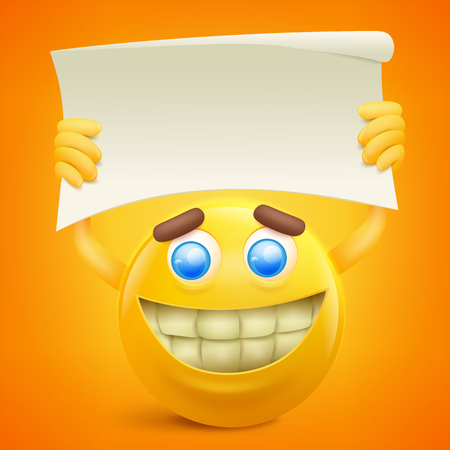 Yellow smiley cartoon character with paper banner in hands. Vector illustration