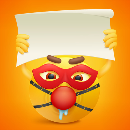 bdsm: Yellow smiley cartoon character with paper banner in hands. Vector illustration