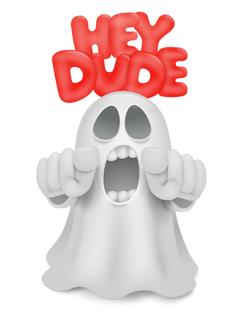 intimidate: Cute phantom emoticon ghost character with index finger gesture. Vector illustration