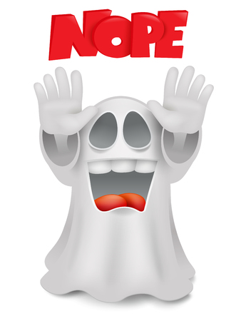 Cute phantom emoticon ghost character stop gesture illustration