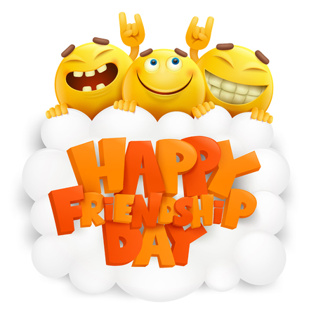 Happy friendship day invitation card with three emoji smiley faces. Vector illustration
