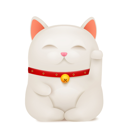 Chinese Maneki Neko lucky cat cartoon character. Vector illustration Illustration