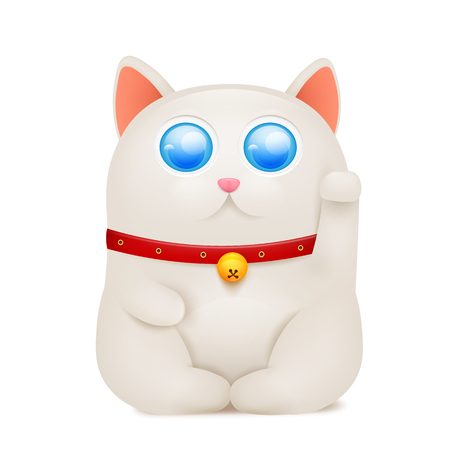 Chinese Maneki Neko lucky cat cartoon character.