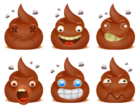 Set of funny poo emoticon cartoon characters
