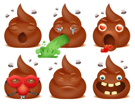 feces: Set of funny poo emoticon cartoon characters