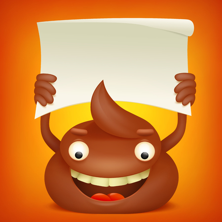 unpleasant: Poop emoticon cartoon character with paper banner. Vector illustration