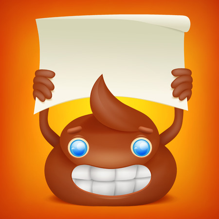 Poop emoticon cartoon character with paper banner. Vector illustration