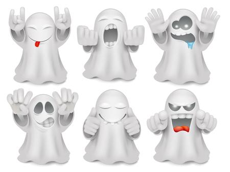 Set of cute cartoon ghost emoticon characters. Halloween big vector collection Vectores