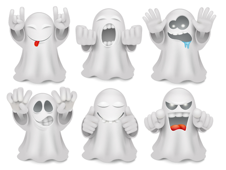 Set of cute cartoon ghost emoticon characters. Halloween big vector collection Çizim