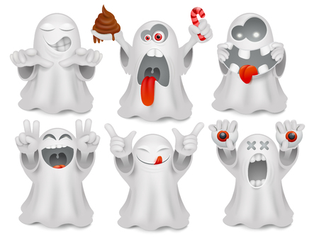 Set of cute emoticon cartoon ghost characters. Vector collection
