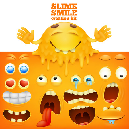 eye drops: Slime yellow smiley face creative set Illustration
