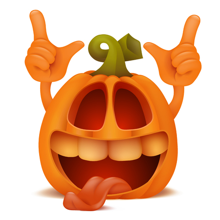 Laughing Halloween Pumpkin Jack Lantern emoticon cartoon character.