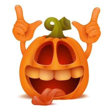 Personaje de dibujos animados de emoticon de risa Pumpkin Jack Lantern de Halloween.