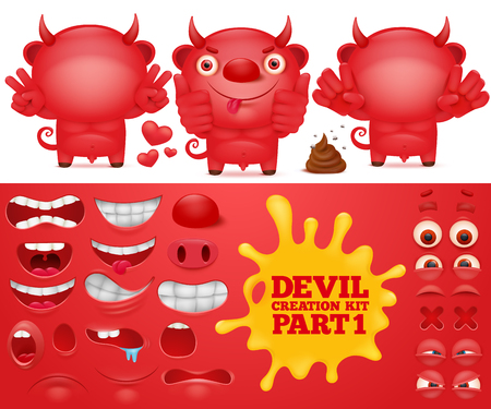 Cartoon emoticon red devil character creation kit. Vector illustration