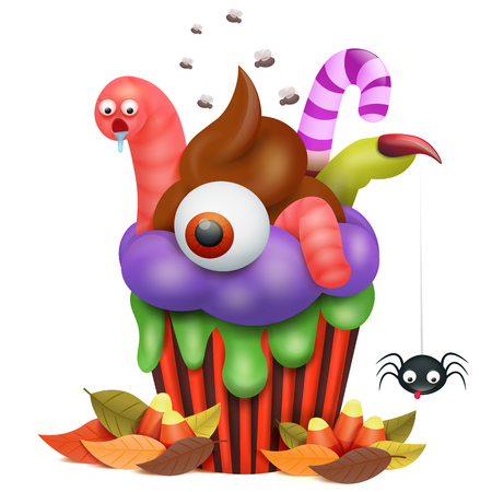 Halloween cupcake with worm and spider cartoon character. Vector illustration