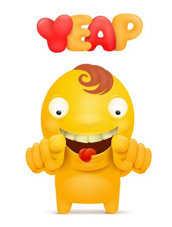 Yellow emoticon man cartoon character. Vector illustration