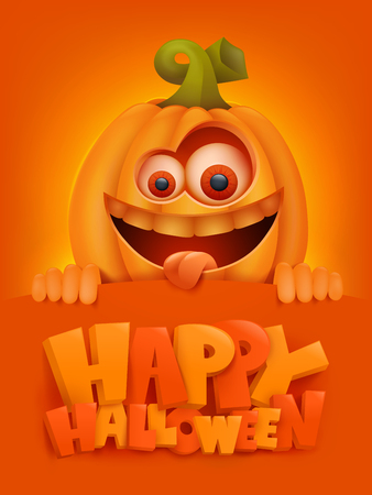 Happy Halloween cartoon illustration with crazy pumpkin character. Vector illustration.