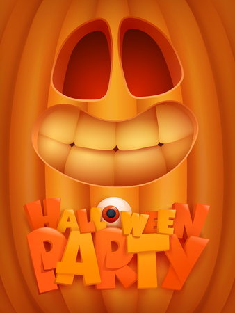 Halloween party poster template with cartoon pumpkin face. Vector illustration