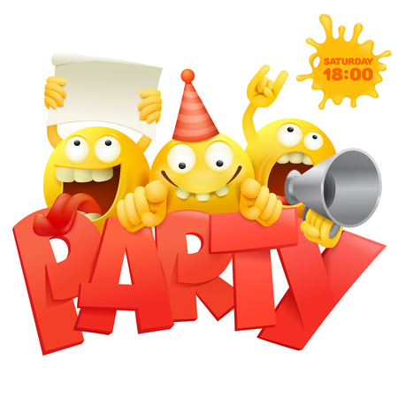Smiley yellow faces group emoticon characters with Party invitation card vector illustration Ilustração