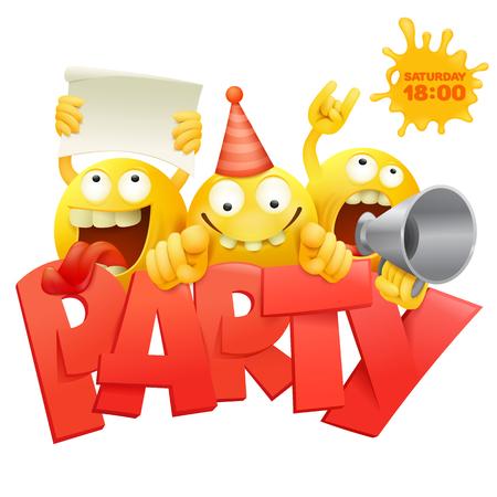 Van de gezichtengroep van Smiley de gele emoticon karakters met de kaart vectorillustratie van de Partijuitnodiging