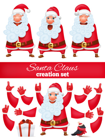 combination: Santa Claus cartoon character creation DIY set. Collection of various emotions and gestures. Vector illustration