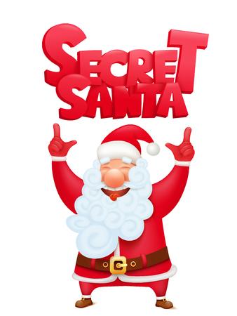 Secret santa claus cartoon character invitation concept card. Vector illustration