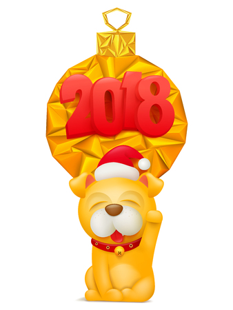 2018 Happy New Year greeting card with yellow dog cartoon character. Vector illustration