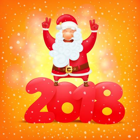 santa claus cartoon emoticon character. New year calendar title concept vector illustration. Vector illustration