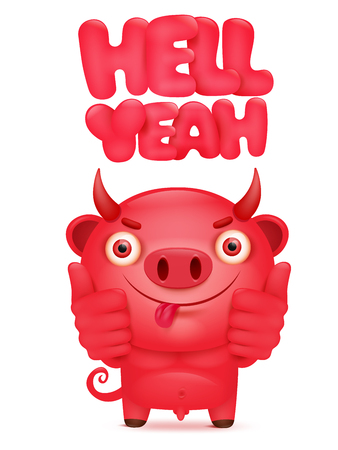 Red devil cartoon emoticon character with hell yeah title. Vector illustration