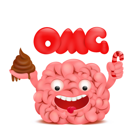 Brain cartoon emoticon character with omg title. Vector illustration.
